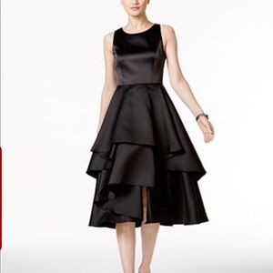Satin Tiered Fit & Flare Dress
